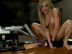 Toying and Fisting Herself Amy Brooke Gets Double Penetrated by Machines