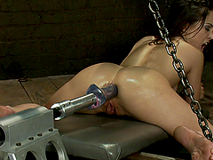 Horny Slut Kristina Rose Ass and Pussy Penetrated by Machines