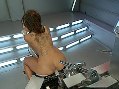 Sexy black babe loves her fucking machines