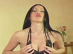 Horny Brunette Masturbates With A Vibrator