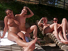 Hot Babes Fucks Machines Outdoors In A Hot Summer Day