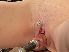 Pussy Shaved Brunette Gets Drilled by Powered Cock Machine