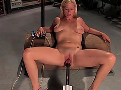 Sexy Blonde Nailed by Cock Machine