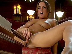 Sexy Babe with Natural Tits Gets Pounded By the Rubber Dick Machine