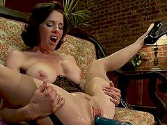 Sex Machine Strikes Brunette with High Heels