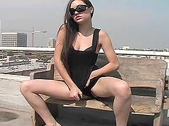Cute girl looses control and masturbates outdoors