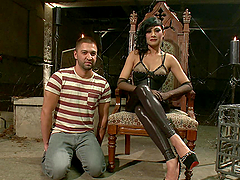 Sexy Brunette Fucks A Guy With A Strapon In A Femdom