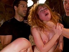 She gets tied up and gangbanged