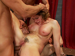Bitch with nice tits gets banged by many cocks