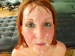 Hardcore Gangbang Action Leaves Redhead Covered By Cum