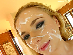 Slutty Blonde Ends Up Covered By Cum After A Gangbang