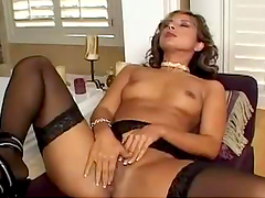 Horny Babe Fingers Her Wet Pussy Wearing Stockings