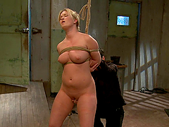 Busty Blonde's Nailed While Being Tied