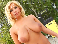 Busty bitch disgraced with cum