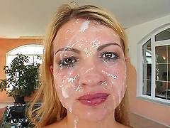 Hot bitch gang fucked and disgraced with cum