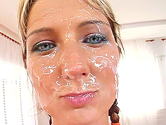 Hot girl gets a sperm mustache