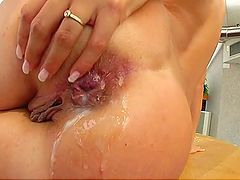 Sexy Blonde's Fucked Up Her Ass And Creampied