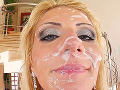 Sexy Blonde Gets Face Full of Cum