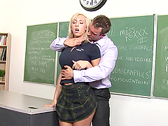 Blonde Gets Detained By Teacher After Class