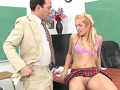 Innocent Blonde Strips Of Her School Uniform