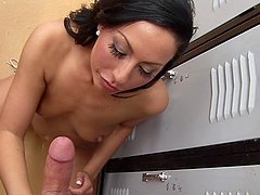 Gorgeous Brunette Babe Banged in the Locker Room