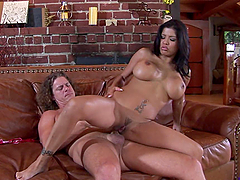MILF Latina Having Anal on the Couch