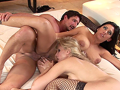 FFM Threesome with Two MILF Babes with Big Tits