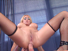 Busty Blonde in Stockings Gets Anal