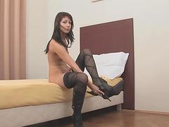 Kinky Brunette Masturbates In Her Bedroom