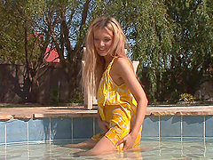 Blonde Teen Plays With Her Wet Pussy In The Patio