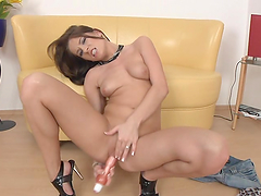 Gorgeous Brunette Masturbates With A Dildo In Front Of The Camera