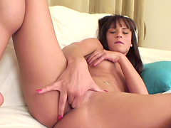Horny Brunette Pushes Her Fingers Deep In Her Warm Pussy