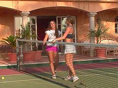 Gorgeous Ladies Have A Lesbian Scene On A Tennis Court