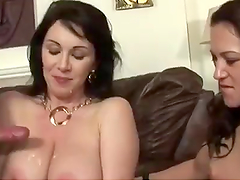 Hot Mom And Teen Daughter Share Her Husband's Big Cock In A Threesome