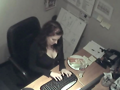 Horny Babe's Caughty Playing With Herself In The Office