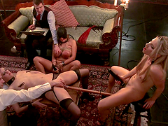 Hot Mistress And Horny Master Plays With Their Slaves