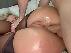 Tight busty blonde gets asshole fisted fucked & toyed with