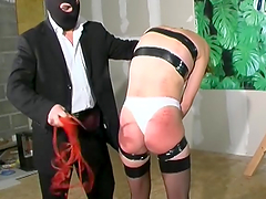 Redhead Mature's Tied Up And Spankes By Guy In Ski Masks