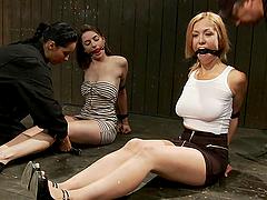 Two fucking sluts pinned to the ground by bondage machines