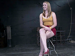 Blonde slut tied up and poured candle wax upon