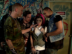 Cum Drenched Slut Sucks on Multiple Dicks & Gets DP in Gangbang