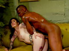 Pale Skin Tattooed Whore Fucked By Big Black Dude