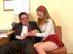 Teen blondie fucked by her teacher
