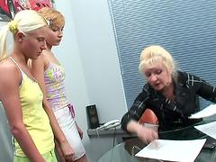 Blonde Teens Have Some Lesbian Fun With Their Teacher