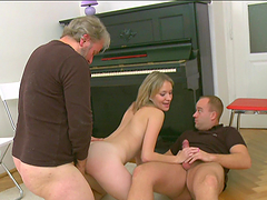 Old man joins couple and have kinky threesome