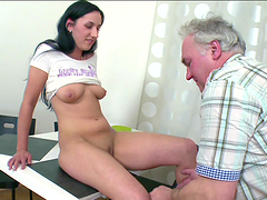 A brunette bitch gets fucked by old man