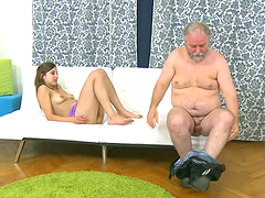 Teen rides old man's cock while her boyfriend watches