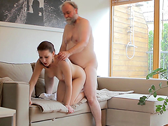 Old man joins a couple to have freaky kinky sex