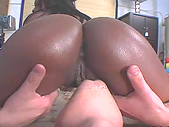 Hot Ebony Babes Rides A Big White Cock After Showing Her Bubble Butt