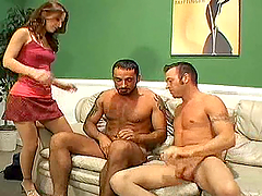 Lots of fucking in bisex threesome with 2 dudes & chick with strapon